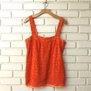 Trina Turk - Orange Crochet Tank Top Sz L
